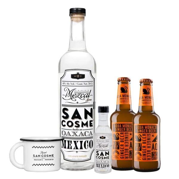 Mezcal San Cosme 40% (1 x 0.7 l) + Miniatur, Tasse, Aqua Monaco Hot Ginger Beer (2 x 0.23 l)