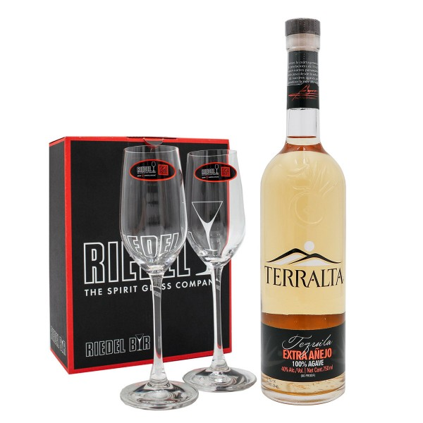 Tequila Terralta Extra Añejo 40%   Set mit 2 Riedel Ouverture Gläser (1 x 0.7 l)