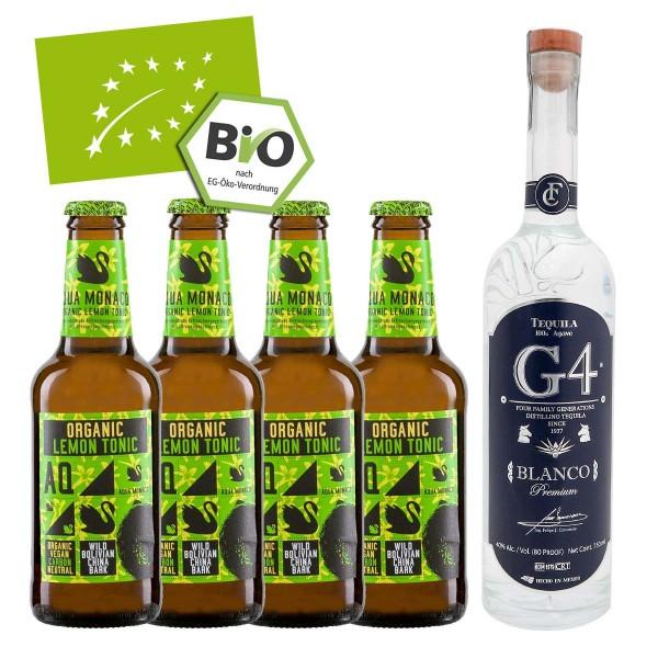 G4 Tequila Blanco 40% (1 x 0.7 l) + 4x Aqua Monaco Organic Lemon Tonic