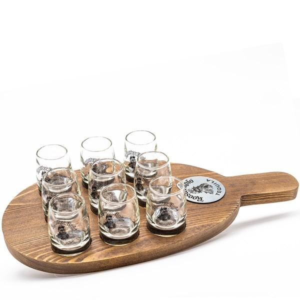 Rooster Rojo Tequila Flight Servierpaddel mit 9 Gläsern (á 6cl)