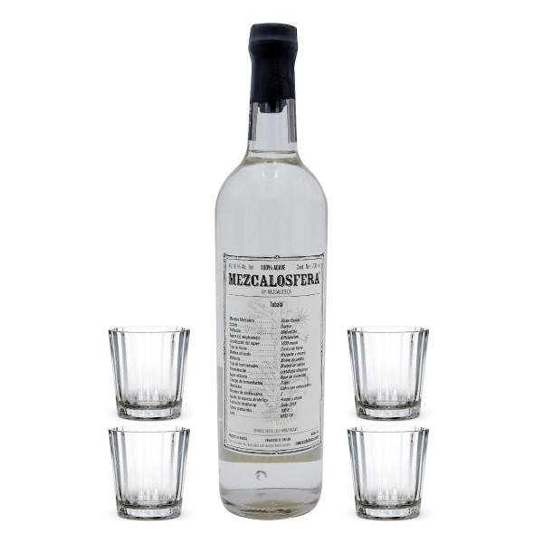 Mezcalosfera Tobala Mezcal 49,16% | Set mit 4 Gläsern (1 x 0.7 l)