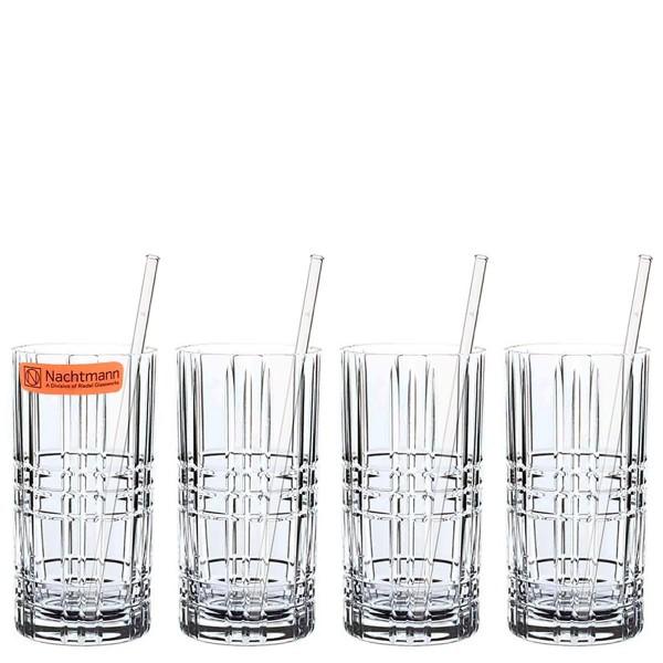 Nachtmann Longdrinkgläser Set (4 x 445ml) + 4 Glastrinkhalme & Reinigungsbürste