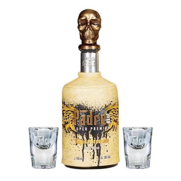 Padre Azul Reposado Tequila mit 2 Shot Gläsern 38% (1x 0.7 l)