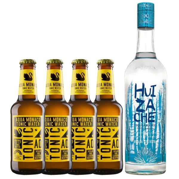 Huizache Tequila Blanco 40% (1 x 0.7 l) + Aqua Monaco Tonic Water (4 x 0.23 l)
