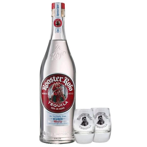 Rooster Rojo Tequila Blanco 38% + 2 Shotgläser (1 x 0.7 l)