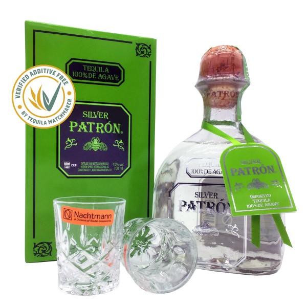 Patrón Tequila Silver 40% (1 x 0.7 l) + 2 Kristallgläser