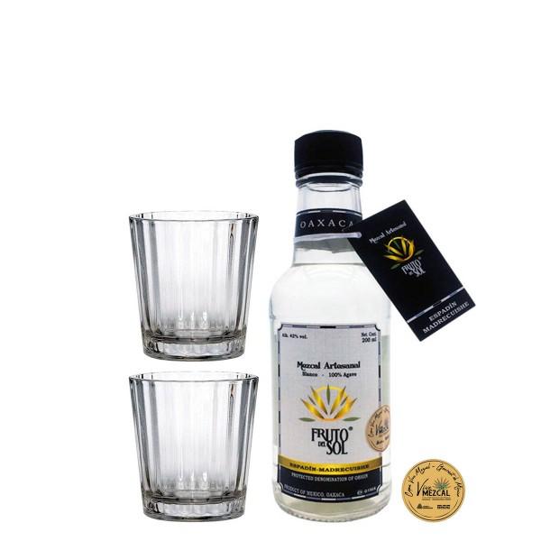 Mezcal Fruto del Sol   Espadin-Madrecuishe 42% (1 x 0.2 l) + 2 Mezcal Gläser