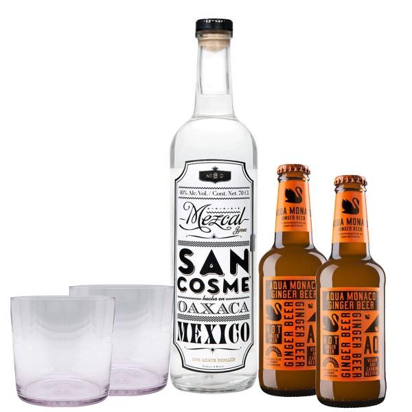 Mezcal San Cosme 40% (1 x 0.7 l) + Aqua Monaco Hot Ginger Beer (2 x 0.23 l) + 2 Gläser