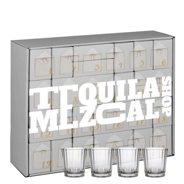 Tequila & Mezcal Adventskalender + 4 Gläser (24 x 0,05 l)